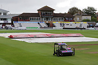 The blotter is used in an attempt to dry the ourfield ahead of Somerset CCC vs Essex CCC, Specsavers County Championship Division 1 Cricket at The Cooper Associates County Ground on 25th September 2019