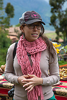 Peru, Urubamba Valley, Quechua Village of Misminay.  Young Peruvian Woman of German Ancestry.