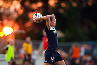 Sky Blue FC defender Caitlin Foord (4) on a throw in. The Western New York Flash defeated Sky Blue FC 3-0 during a National Women's Soccer League (NWSL) match at Yurcak Field in Piscataway, NJ, on June 8, 2013.