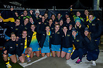 The Hockeyroos celebrate winning the Sentinel Homes Trans Tasman Hockey Series against the New Zealand Black Sticks Women at Massey University Hockey Turf in Palmerston North, New Zealand on Tuesday, 1 June 2021. Photo: Dave Lintott / lintottphoto.co.nz