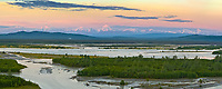Panorama overlooking the Tanana river. prominent peaks of the Alaska Range from left to right: Moffit, Hayes, Hess and Deborah.