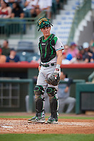 Daytona Tortugas catcher Tyler Stephenson (30) looks into the dugout during a game against the Florida Fire Frogs on April 7, 2018 at Osceola County Stadium in Kissimmee, Florida.  Daytona defeated Florida 4-3 in a six inning rain shortened game.  (Mike Janes/Four Seam Images)