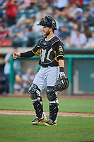 Joe Hudson (19) of the Salt Lake Bees during the game against the El Paso Chihuahuas at Smith's Ballpark on August 14, 2018 in Salt Lake City, Utah. El Paso defeated Salt Lake 6-3. (Stephen Smith/Four Seam Images)