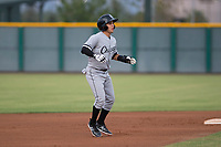 AZL White Sox first round draft pick and designated hitter Nick Madrigal (7) takes a lead off second base during an Arizona League game against the AZL Cubs 2 at Sloan Park on July 13, 2018 in Mesa, Arizona. The AZL Cubs 2 defeated the AZL White Sox 6-4. (Zachary Lucy/Four Seam Images)
