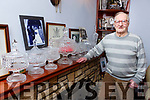 Greyhound trainer Michael Murphy Castleisland with his seven Irish Derby crystals and Irish Oaks crystal at his home
