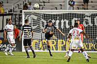 Orlando, FL - Saturday Jan. 21, 2017: Corinthians defender Baluena (4) clears the ball out of the box during the first half of the Florida Cup Championship match between São Paulo and Corinthians at Bright House Networks Stadium.