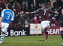 Hearts' Ryan Stevenson celebrates after he scores their first goal.