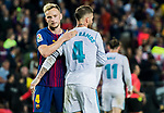 Sergio Ramos (R) of Real Madrid hugs Ivan Rakitic of FC Barcelona after the La Liga 2017-18 match between FC Barcelona and Real Madrid at Camp Nou on May 06 2018 in Barcelona, Spain. Photo by Vicens Gimenez / Power Sport Images