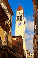 Bell tower of the Greek Orthodox Church of St. Spyridon, the patron Saint of Corfu . Greek Ionian Islands