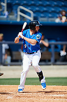 Biloxi Shuckers third baseman George Iskenderian (9) at bat during a game against the Jackson Generals on April 23, 2017 at MGM Park in Biloxi, Mississippi.  Biloxi defeated Jackson 3-2.  (Mike Janes/Four Seam Images)