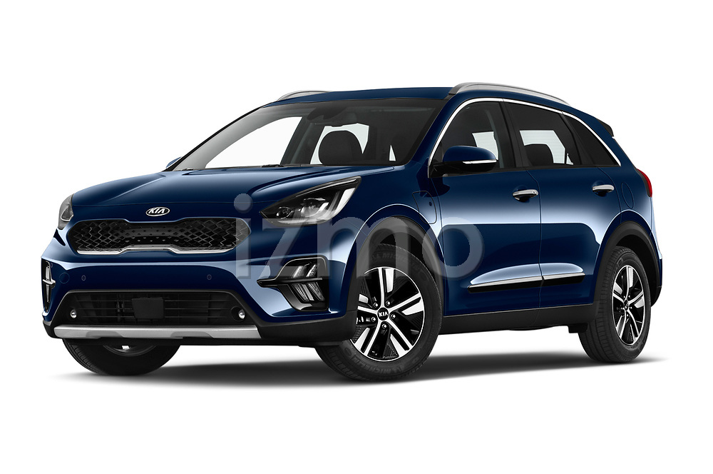 Stock pictures of low aggressive front three quarter view of 2020 KIA Niro-phev Sense 5 Door SUV Low Aggressive