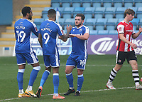 Vadaine Oliver celebrates scoring Gillingham's opening goal during Gillingham vs Exeter City, Emirates FA Cup Football at the MEMS Priestfield Stadium on 28th November 2020