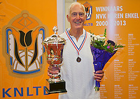 August 22, 2014, Netherlands, Amstelveen, De Kegel, National Veterans Championships, Winner HE 85, Jan Haagen<br /> Photo: Tennisimages/Henk Koster