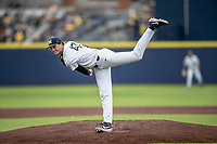 Michigan Wolverines pitcher Tommy Henry (47) delivers a pitch to the plate against the Rutgers Scarlet Knights on April 27, 2019 in the NCAA baseball game at Ray Fisher Stadium in Ann Arbor, Michigan. Michigan defeated Rutgers 10-1. (Andrew Woolley/Four Seam Images)