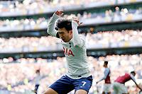3rd October 2021; Tottenham Hotspur Stadium. Tottenham, London, England; Premier League football, Tottenham versus Aston Villa: Son Heung-Min of Tottenham Hotspur reacts angrily after not being awarded a corner