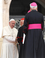 Papa Francesco saluta il Cardinale Angelo Bagnasco al termine dell'udienza generale del mercoledi' in Piazza San Pietro, Citta' del Vaticano, 31 agosto 2016.<br /> Pope Francis greets Cardinal Angelo Bagnasco at the end of his weekly general audience in St. Peter's Square at the Vatican, 31 August 2016. <br /> UPDATE IMAGES PRESS/Isabella Bonotto<br /> <br /> STRICTLY ONLY FOR EDITORIAL USE