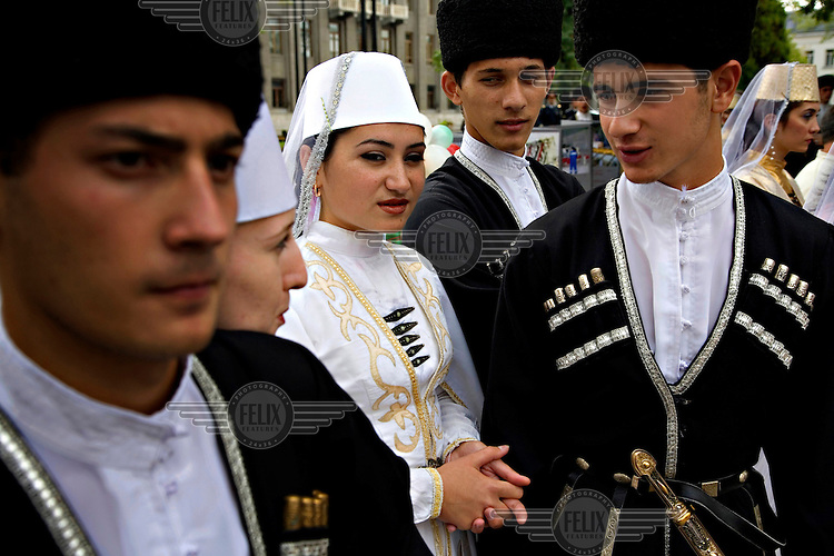 Teenagers in traditional dress during Vladikavkaz' City Day celebrations.