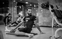 Marco Coledan (ITA/Trek-Segafredo) doing stretch exercises after a long day on the bike<br /> <br /> Team Trek-Segafredo Training Camp <br /> january 2017, Mallorca/Spain