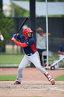 GCL Nationals designated hitter Anderson Franco (39) at bat during a game against the GCL Astros on August 6, 2018 at FITTEAM Ballpark of the Palm Beaches in West Palm Beach, Florida.  GCL Astros defeated GCL Nationals 3-0.  (Mike Janes/Four Seam Images)