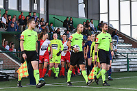 referee Christophe Windels with assistant referees Toon Bonduel and Jiri Bergs pictured entering the pitch with the players during a female soccer game between SV Zulte - Waregem and Oud Heverlee Leuven on the sixth matchday of the 2021 - 2022 season of Belgian Scooore Womens Super League , saturday 9 of October 2021  in Zulte , Belgium . PHOTO SPORTPIX   DIRK VUYLSTEKE