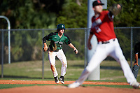 Dartmouth Big Green center fielder Matt Feinstein (23) leads off first base during a game against the Northeastern Huskies on March 3, 2018 at North Charlotte Regional Park in Port Charlotte, Florida.  Northeastern defeated Dartmouth 10-8.  (Mike Janes/Four Seam Images)