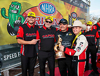Feb 23, 2020; Chandler, Arizona, USA; NHRA top fuel driver Steve Torrence celebrates with crew after winning the Arizona Nationals at Wild Horse Pass Motorsports Park. Mandatory Credit: Mark J. Rebilas-USA TODAY Sports