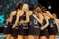 Silver Ferns hudddle during the Constellation Cup international netball series match between New Zealand Silver Ferns and Australian Diamonds at Christchurch Arena in Christchurch, New Zealand on Tuesday, 2 March 2021. Photo: Martin Hunter / lintottphoto.co.nz
