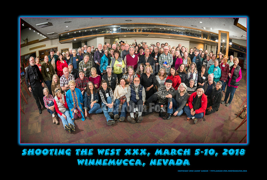 The photographers, students, friends, presenters, sponsors and vendors at Shooting The West XXX pose for a group photo at the end of the symposium, thinking of next year's program. Nikon D850 cameras and Nikkor 8-15mm fisheye zoom camera and lens lent by #NikonUSA.<br /> .<br /> .<br /> .#NikonUSA, #ShootingTheWest XXX, #WinnemuccaNevada
