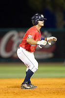 Mike Ford (26) of the Charleston RiverDogs takes his lead off of second base against the Greenville Drive at Joseph P. Riley, Jr. Park on May 26, 2014 in Charleston, South Carolina.  The Drive defeated the RiverDogs 11-3.  (Brian Westerholt/Four Seam Images)