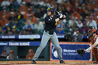 Luke Mann (16) of the Missouri Tigers at bat against the Texas Longhorns in game eight of the 2020 Shriners Hospitals for Children College Classic at Minute Maid Park on March 1, 2020 in Houston, Texas. The Tigers defeated the Longhorns 9-8. (Brian Westerholt/Four Seam Images)