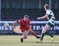 20th February 2021; Trailfinders Sports Club, London, England; Trailfinders Challenge Cup Rugby, Ealing Trailfinders versus Doncaster Knights; Harry strong of Doncaster Knights twists his knee badly