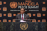 Opening Plenary Meeting of the Nelson Mandela Peace Summit<br /> <br /> His Excellency Teodoro OBIANG NGUEMA MBASOGOPresident of the Republic of Equatorial Guinea