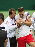 02-02-14,Czech Republic, Ostrava, Cez Arena, Davis Cup Czech Republic vs Netherlands,   Tomas Berdych (CZE) and Radek Stepanek(L) celebrate their win over the Netherlands<br /> Photo: Henk Koster