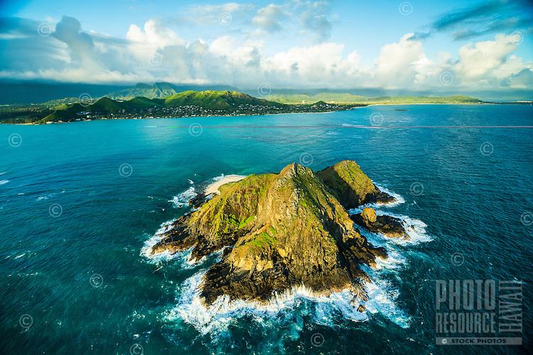 Moku Nui, one of Na Mokulua (islets) off of the coast of Lanikai neighborhood in Kailua, Windward O'ahu.