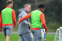 Steve Cooper Head Coach of Swansea City speaks to Korey Smith of Swansea City during the Swansea City Training at The Fairwood Training Ground in Swansea, Wales, UK. Tuesday 22 September 2020