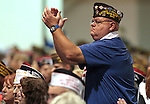 Luke Sawicki, of Ohio, applauds during Presiden Barack Obama speecg at the 113th National Convention of the Veterans of Foreign Wars in Reno, Nev., on Monday, July 23, 2012..Photo by Cathleen Allison