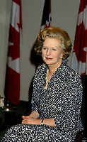 Mirabel (Qc) CANADA - File Photo July 1986 - Margaret Tatcher meet with Canadian Prime Minister Brian Mulroney at Mirabel Airport north of Montreal.