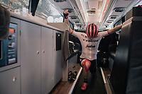 Michael Gogl (AUT/Trek-Segafredo) stretching in the teambus just before heading out for the race<br /> <br /> 104th Tour de France 2017<br /> Stage 5 - Vittel › La Planche des Belles Filles (160km)