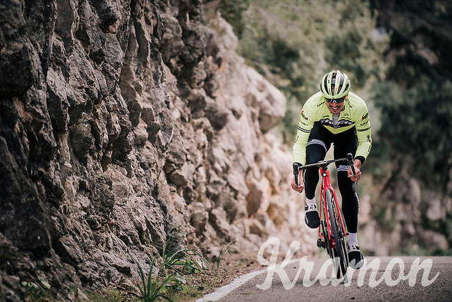 John DEGENKOLB (DEU/Trek-Segafredo) during a full effort ascent<br /> <br /> Team Trek-Segafredo men's team<br /> training camp<br /> Mallorca, january 2019<br /> <br /> ©kramon