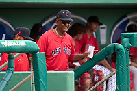 FCL Red Sox coach Jimmy Gonzalez during a game against the FCL Twins on August 7, 2021 at JetBlue Park at Fenway South in Fort Myers, Florida.  (Mike Janes/Four Seam Images)