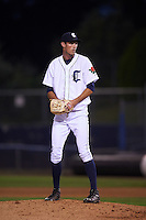 Connecticut Tigers pitcher Matt Davenport (51) gets ready to deliver a pitch during the first game of a doubleheader against the Brooklyn Cyclones on September 2, 2015 at Senator Thomas J. Dodd Memorial Stadium in Norwich, Connecticut.  Brooklyn defeated Connecticut 7-1.  (Mike Janes/Four Seam Images)