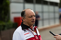 13th March 2020; Melbourne Grand Prix Circuit, Melbourne, Victoria, Australia; Formula One, Australian Grand Prix, Practice Day; Alfa Romeo team principal Frederic Vasseur provides information during an interview