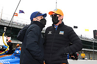 28th May 2021; Indianapolis, Indiana, USA;  NTT Indy Car Series car driver Tony Kanaan talks with teammate Scott Dixon during Miller Lite Carb Day as teams prepare for the 105th running of the Indianapolis 500
