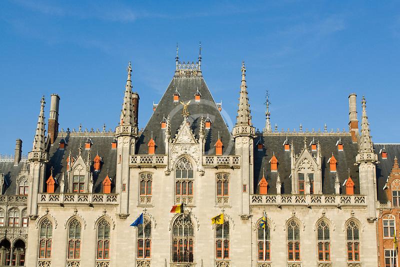 Belgium, Bruges, Provincial Palace facade Market Square, Brugge Markt