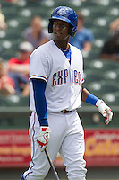 Round Rock Express shortstop Jurickson Profar #10 walks back the dugout after striking out against the New Orleans Zephyrs in the Pacific Coast League baseball game on April 21, 2013 at the Dell Diamond in Round Rock, Texas. Round Rock defeated New Orleans 7-1. (Andrew Woolley/Four Seam Images).