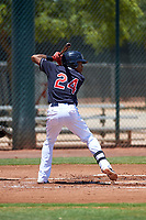 AZL Indians Blue Jose Tena (24) at bat during an Arizona League game against the AZL Indians Red on July 7, 2019 at the Cleveland Indians Spring Training Complex in Goodyear, Arizona. The AZL Indians Blue defeated the AZL Indians Red 5-4. (Zachary Lucy/Four Seam Images)