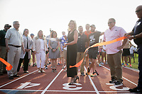 Bentonville Mayor Stephanie Orman, Monday, August 2, 2021 at the Old Tiger Track in Bentonville. The Bentonville Parks and Recreation Department held a grand reopening of the Old Tiger Track. As the only public use track in the area, the new surface has designated lanes for training and competitive use. The oval track is bordered with pedestrian-level lights, extending daily usage from pre-dawn to evening. The installation of new restroom facilities provides an added bonus, along with a 10' expansion of the trail width along Northwest D Street. Construction costs for the track renovations and enhancements totaled $585,000. Tiger Track was originally the home of Bentonville High School's Tiger Stadium and Track Field. Parks and Recreation acquired the property in 2010 for use as a city park. Check out nwaonline.com/210803Daily/ for today's photo gallery. <br /> (NWA Democrat-Gazette/Charlie Kaijo)