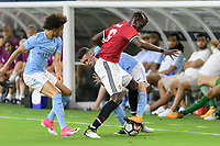 Houston, TX - Thursday July 20, 2017: Leroy Sané, Phil Foden and Paul Pogba during a match between Manchester United and Manchester City in the 2017 International Champions Cup at NRG Stadium.