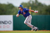 St. Lucie Mets left fielder Tim Tebow (15) leads off second base in the top of the eighth inning after hitting a double during a game against the Florida Fire Frogs on July 23, 2017 at Osceola County Stadium in Kissimmee, Florida.  St. Lucie defeated Florida 3-2.  (Mike Janes/Four Seam Images)