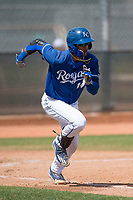 Kansas City Royals catcher MJ Melendez (18) during a Minor League Spring Training game against the Milwaukee Brewers at Maryvale Baseball Park on March 25, 2018 in Phoenix, Arizona. (Zachary Lucy/Four Seam Images)